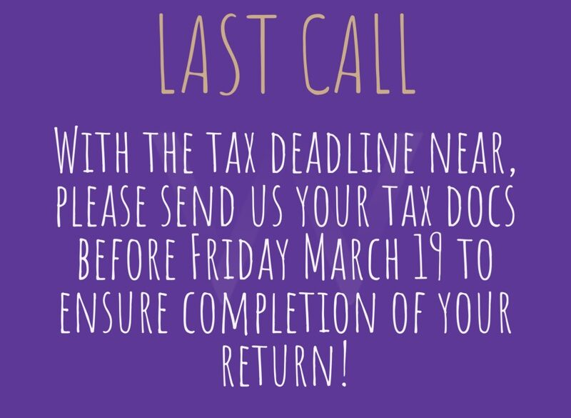 Last Call for Tax Docs